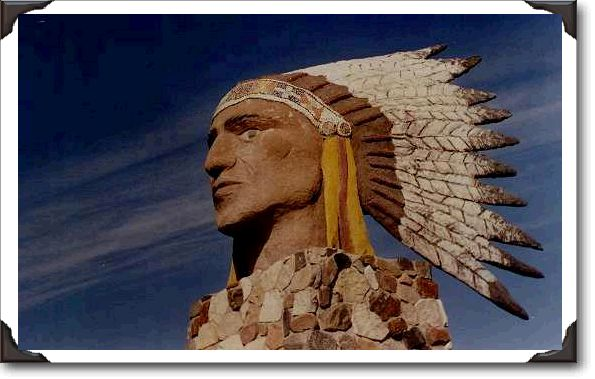 Indian Head Statue built in 1985 - 18ft. tall -  3,5000 lbs. Location: the southwest corner of town on the north side of Highway #1