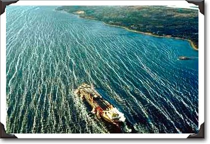 Hugh oil tanker taking crude oil out of the Strait of Canso, Nova Scotia